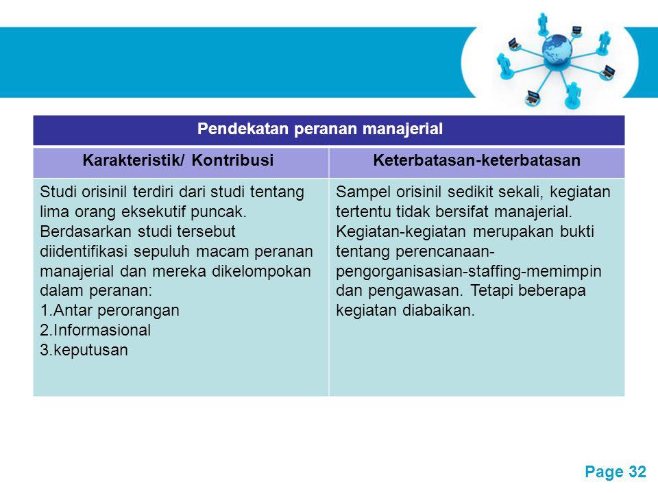 Free Powerpoint Templates Page 32 Pendekatan peranan manajerial Karakteristik/ KontribusiKeterbatasan-keterbatasan Studi orisinil terdiri dari studi t