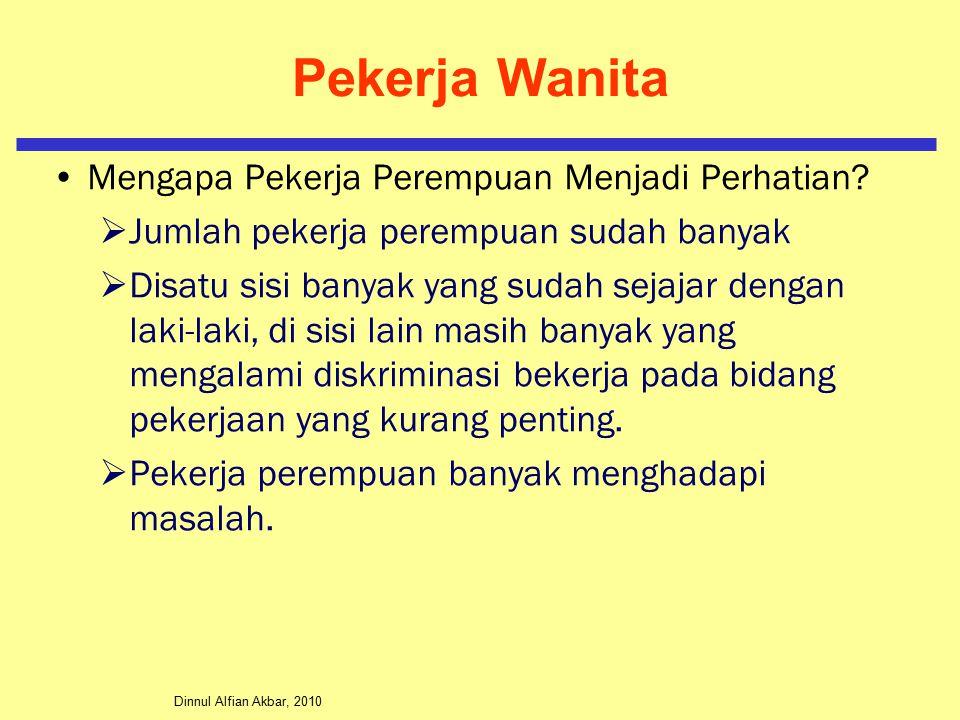 Dinnul Alfian Akbar, 2010 Pekerja Wanita Mengapa Pekerja Perempuan Menjadi Perhatian?  Jumlah pekerja perempuan sudah banyak  Disatu sisi banyak yan