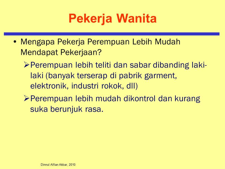 Dinnul Alfian Akbar, 2010 Pekerja Wanita Mengapa Pekerja Perempuan Lebih Mudah Mendapat Pekerjaan?  Perempuan lebih teliti dan sabar dibanding laki-