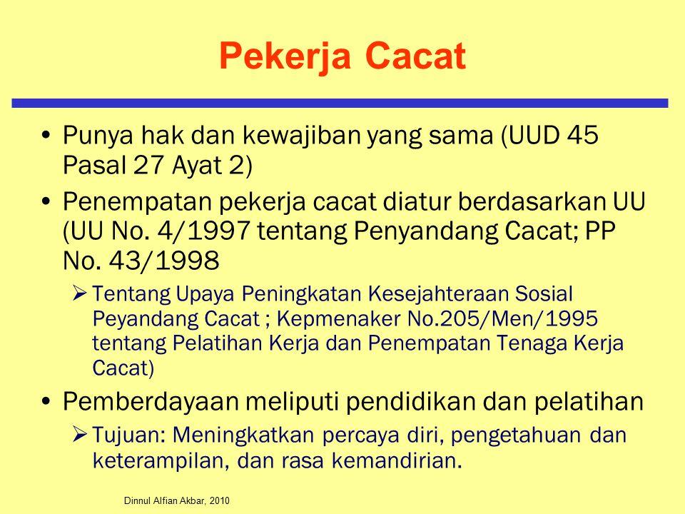 Dinnul Alfian Akbar, 2010 Pekerja Cacat Punya hak dan kewajiban yang sama (UUD 45 Pasal 27 Ayat 2) Penempatan pekerja cacat diatur berdasarkan UU (UU