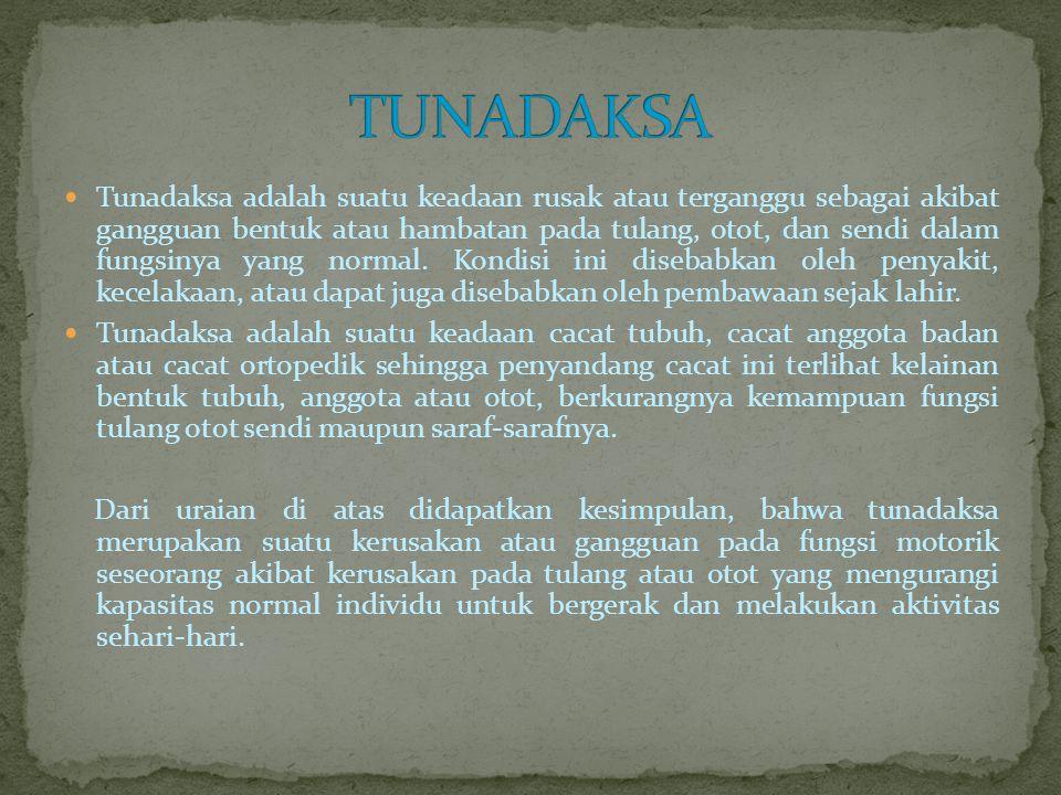 Menurut Koening (dalam Soemantri, 2006) Kerusakan yang dibawa sejak lahir atau kerusakan yang merupakan keturunan.