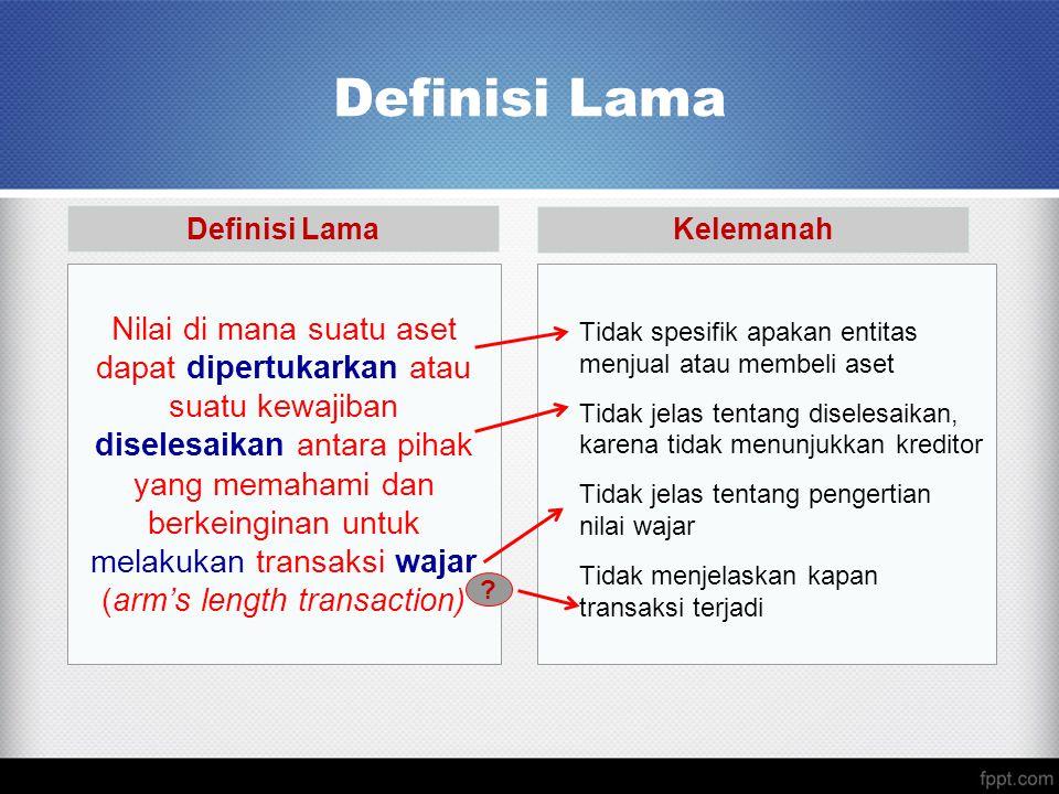 Definisi Lama Nilai di mana suatu aset dapat dipertukarkan atau suatu kewajiban diselesaikan antara pihak yang memahami dan berkeinginan untuk melakuk