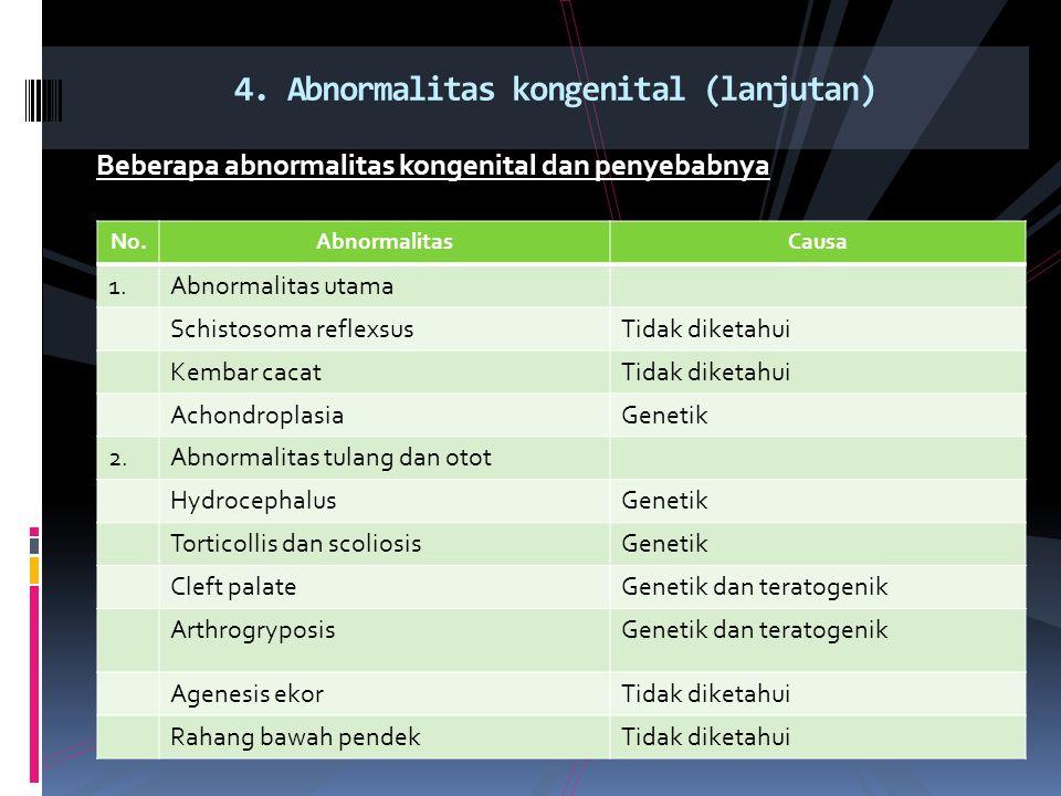 Beberapa abnormalitas kongenital dan penyebabnya 4. Abnormalitas kongenital (lanjutan) No.AbnormalitasCausa 1.Abnormalitas utama Schistosoma reflexsus