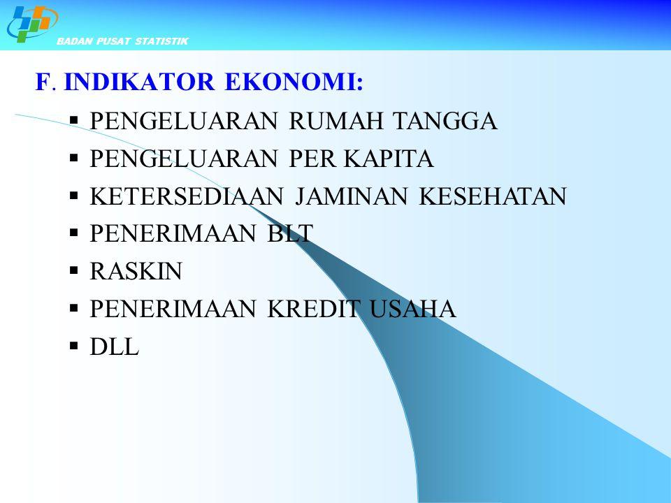 F. INDIKATOR EKONOMI:  PENGELUARAN RUMAH TANGGA  PENGELUARAN PER KAPITA  KETERSEDIAAN JAMINAN KESEHATAN  PENERIMAAN BLT  RASKIN  PENERIMAAN KRED