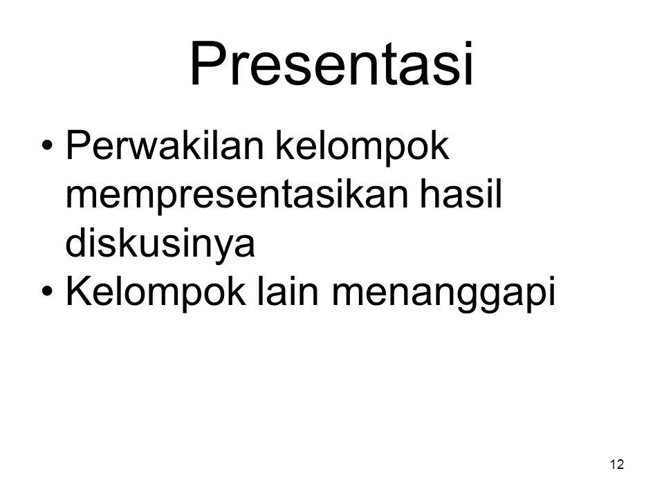 Presentasi Perwakilan kelompok mempresentasikan hasil diskusinya Kelompok lain menanggapi 12
