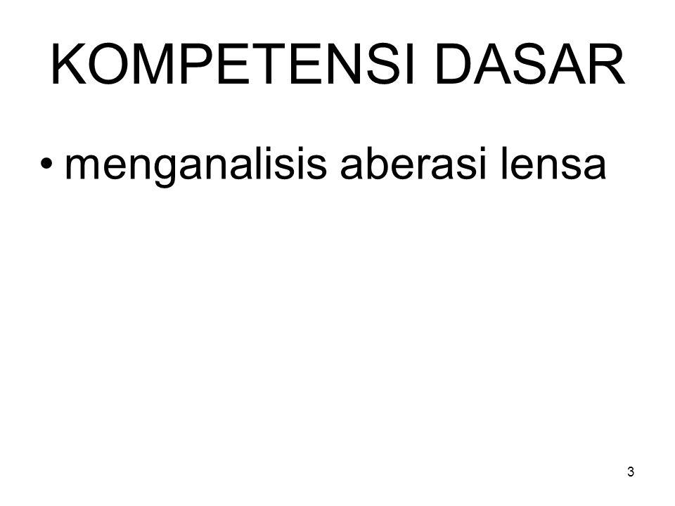 INDIKATOR menjelaskan aberasi lensa, mendeskripsikan aberasi sferis pada cermin cekung, mendeskripsikan aberasi sferis dan kromatis pada lensa membedakan aberasi sferis dan aberasi kromatis, dan menjelaskan cara mengatasi aberasi sferis dan aberasi kromatis.