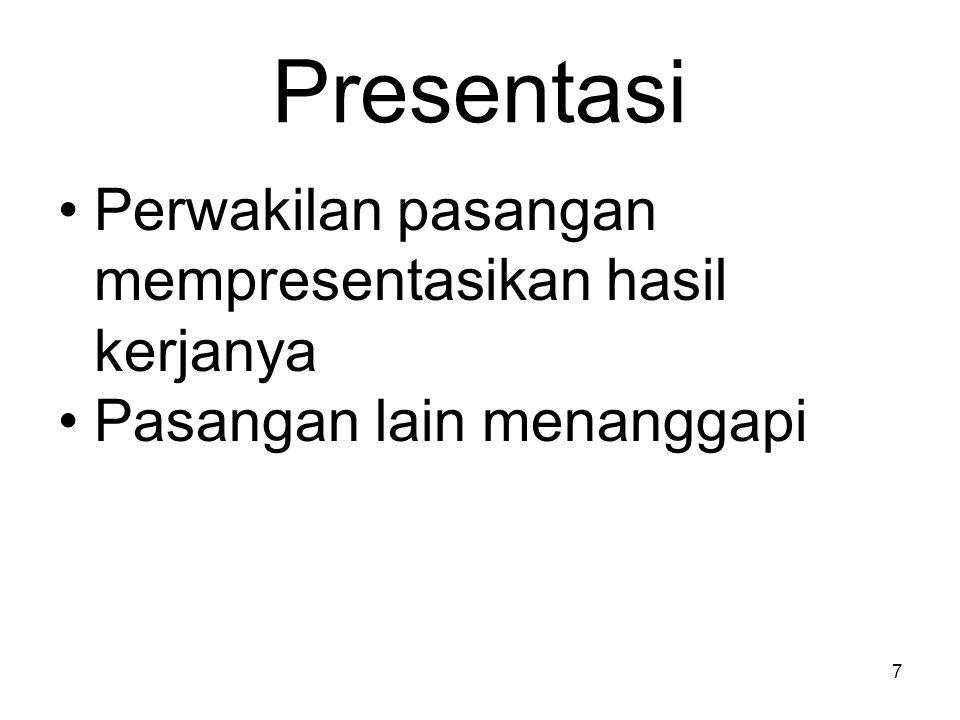 Presentasi Perwakilan pasangan mempresentasikan hasil kerjanya Pasangan lain menanggapi 7