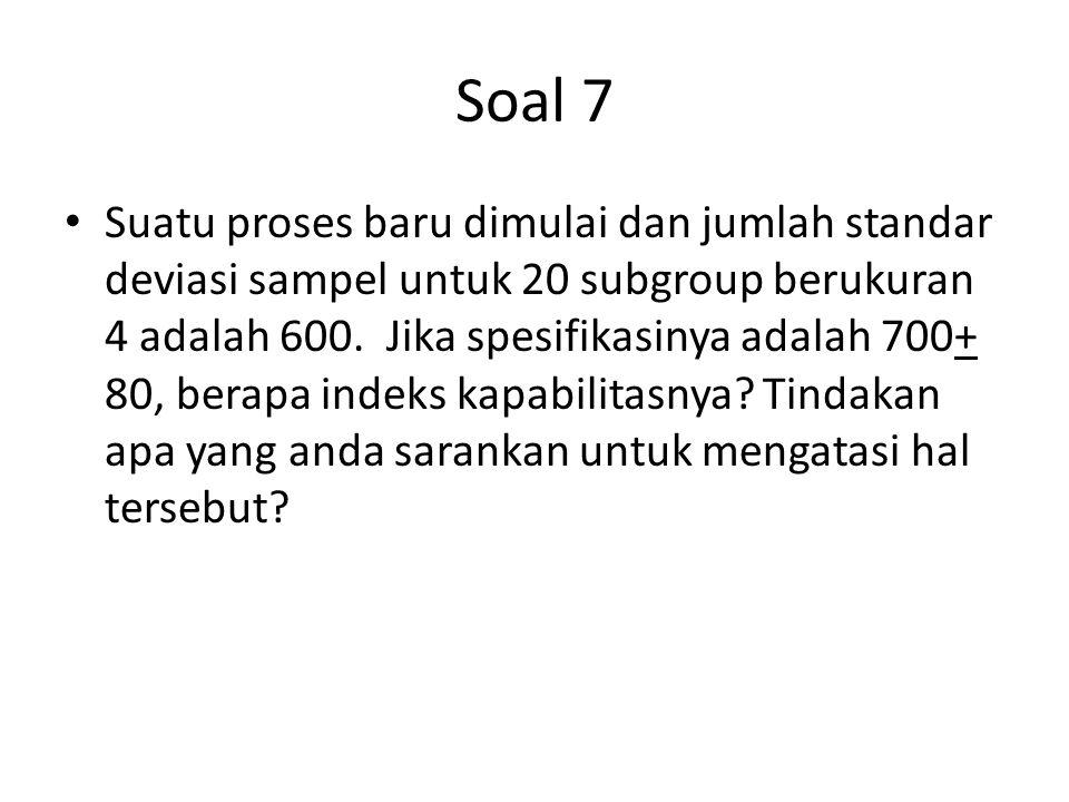 Soal 7 Suatu proses baru dimulai dan jumlah standar deviasi sampel untuk 20 subgroup berukuran 4 adalah 600. Jika spesifikasinya adalah 700+ 80, berap