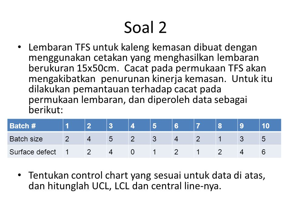 Jawaban Soal 2 Data adalah untuk jumlah cacat, dengan ukuran batch bervariasi  maka control chart yang sesuai adalah u-chart Langkah pertama: hitung rerata u (jumlah cacat per unit produk)