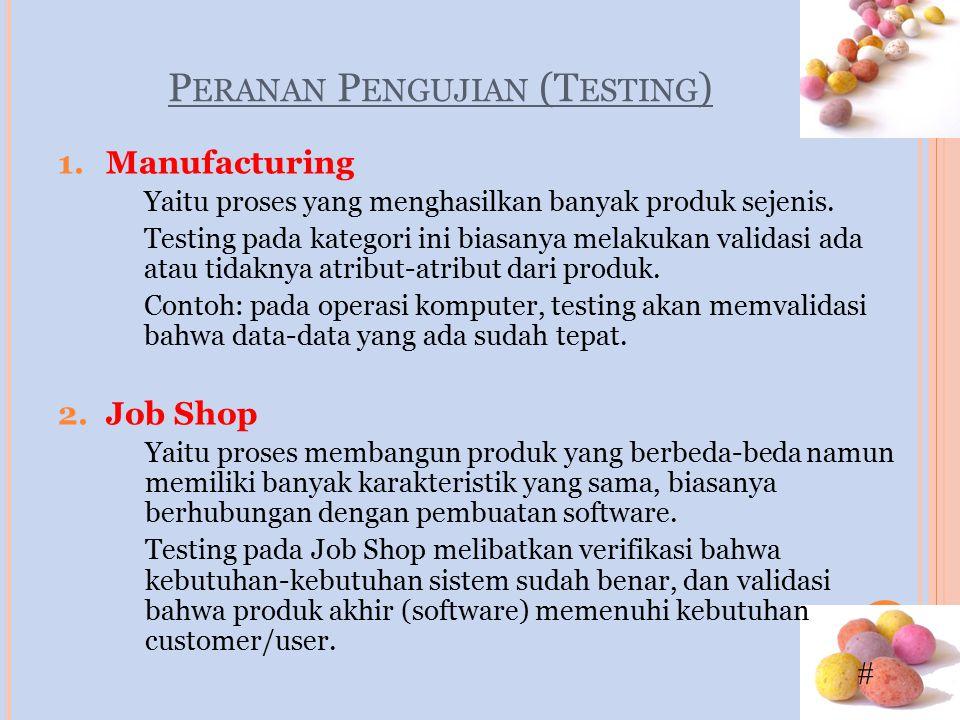 # P ERANAN P ENGUJIAN (T ESTING ) 1.Manufacturing Yaitu proses yang menghasilkan banyak produk sejenis. Testing pada kategori ini biasanya melakukan v