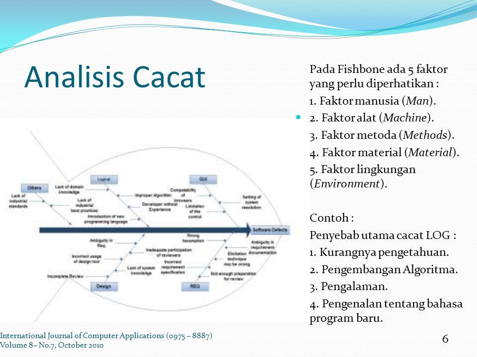 Analisis Cacat Pada Fishbone ada 5 faktor yang perlu diperhatikan : 1. Faktor manusia (Man). 2. Faktor alat (Machine). 3. Faktor metoda (Methods). 4.