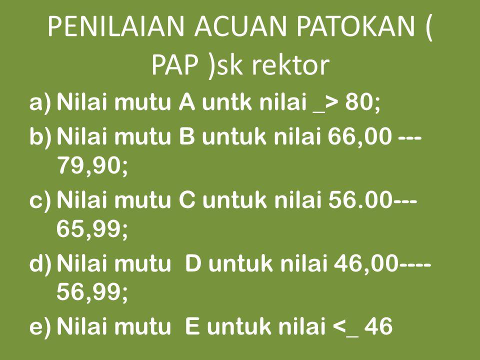 PENILAIAN ACUAN PATOKAN ( PAP )sk rektor a)Nilai mutu A untk nilai _> 80; b)Nilai mutu B untuk nilai 66,00 --- 79,90; c)Nilai mutu C untuk nilai 56.00