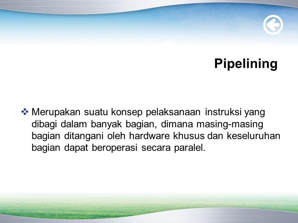 Pipelining  Merupakan suatu konsep pelaksanaan instruksi yang dibagi dalam banyak bagian, dimana masing-masing bagian ditangani oleh hardware khusus