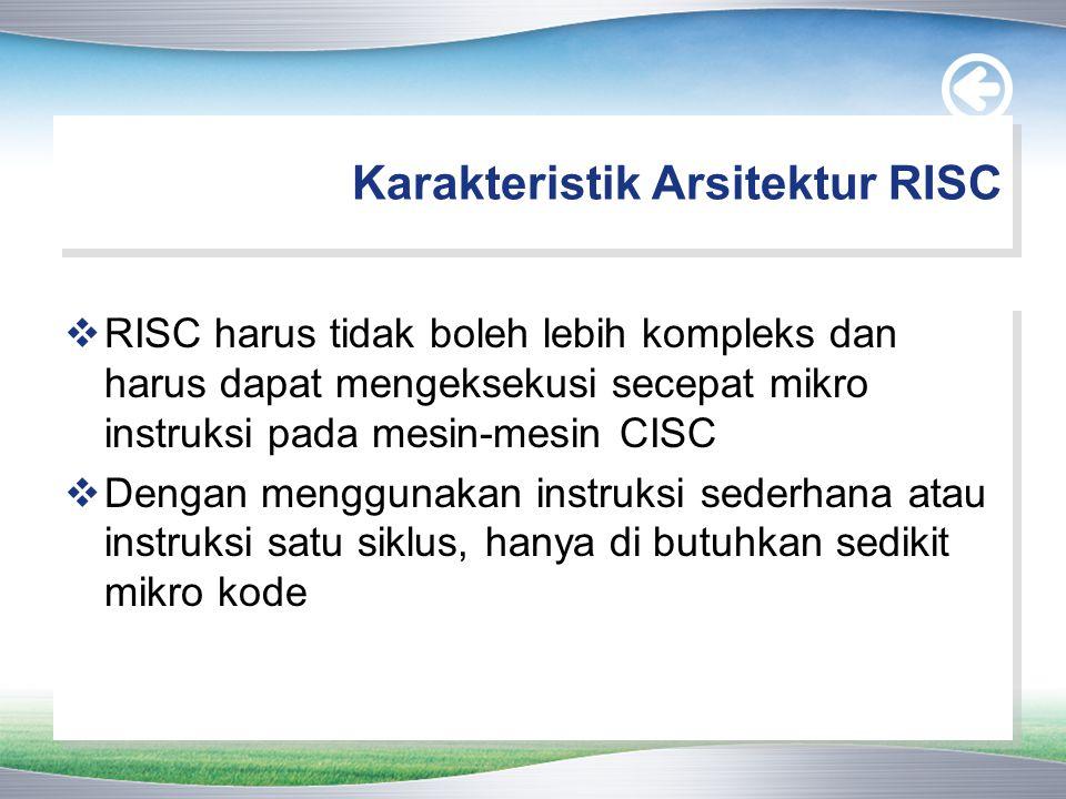 Karakteristik Arsitektur RISC  RISC harus tidak boleh lebih kompleks dan harus dapat mengeksekusi secepat mikro instruksi pada mesin-mesin CISC  Den