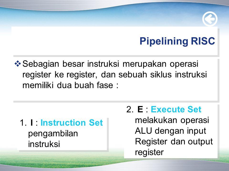 Pipelining RISC  Sebagian besar instruksi merupakan operasi register ke register, dan sebuah siklus instruksi memiliki dua buah fase : 1. I : Instruc