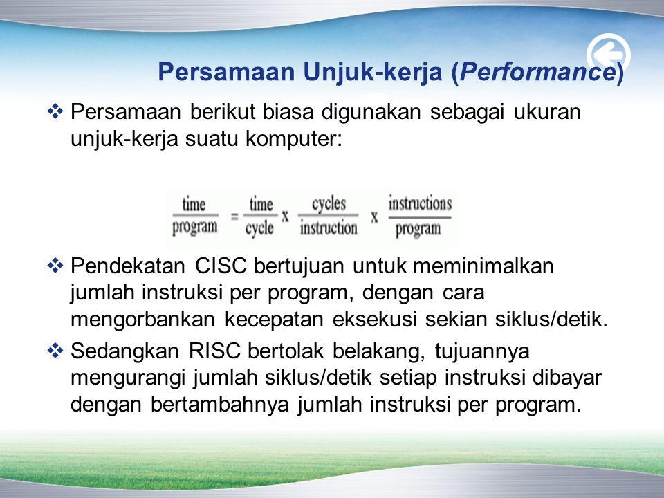 Persamaan Unjuk-kerja (Performance)  Persamaan berikut biasa digunakan sebagai ukuran unjuk-kerja suatu komputer:  Pendekatan CISC bertujuan untuk m