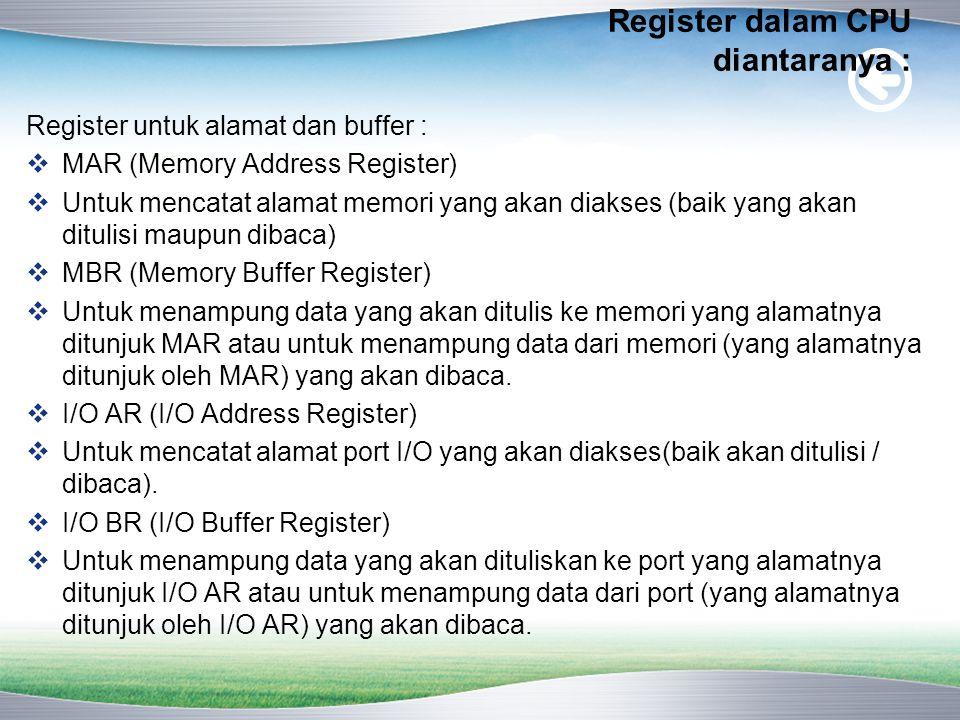 Register dalam CPU diantaranya : Register untuk alamat dan buffer :  MAR (Memory Address Register)  Untuk mencatat alamat memori yang akan diakses (