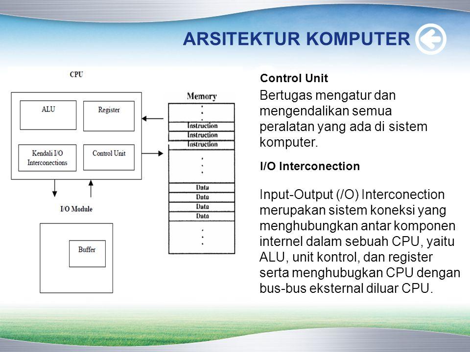 ARSITEKTUR KOMPUTER Control Unit Bertugas mengatur dan mengendalikan semua peralatan yang ada di sistem komputer. I/O Interconection Input-Output (/O)