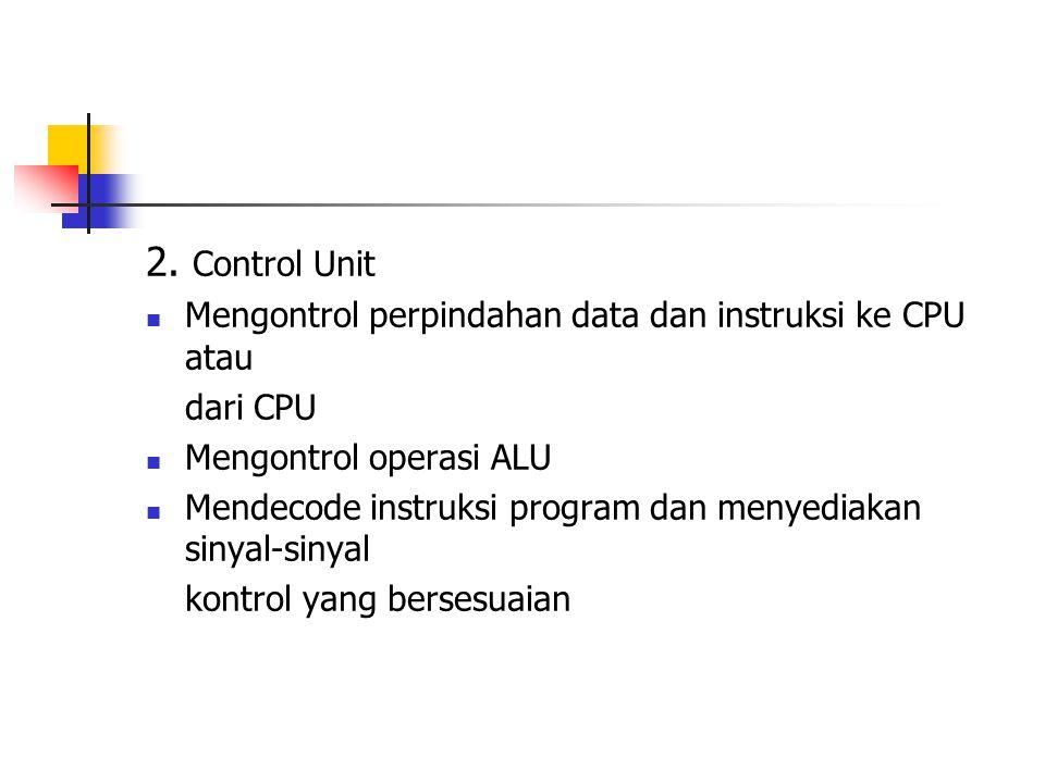 2. Control Unit Mengontrol perpindahan data dan instruksi ke CPU atau dari CPU Mengontrol operasi ALU Mendecode instruksi program dan menyediakan siny