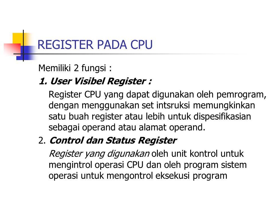 REGISTER PADA CPU Memiliki 2 fungsi : 1.