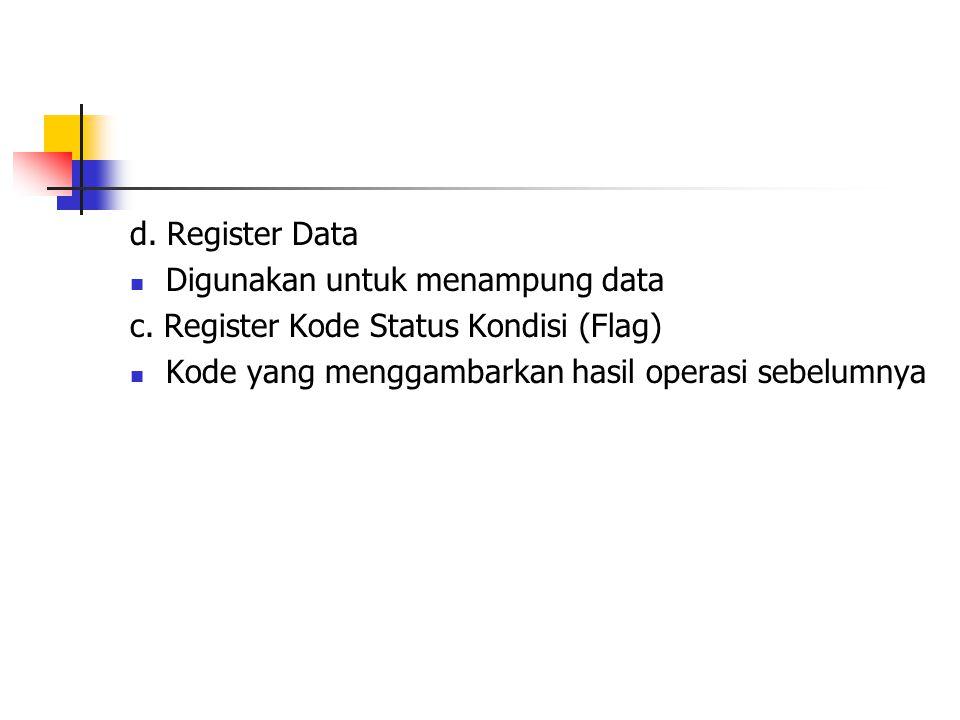 d.Register Data Digunakan untuk menampung data c.