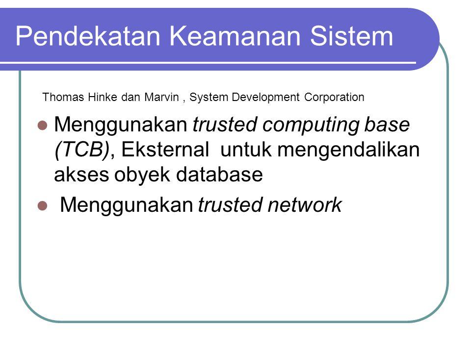 Pendekatan Keamanan Sistem Thomas Hinke dan Marvin, System Development Corporation Menggunakan trusted computing base (TCB), Eksternal untuk mengendal