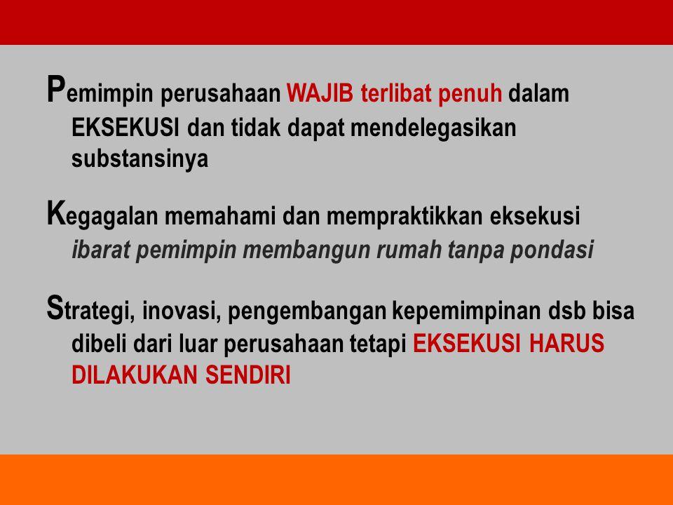 P emimpin perusahaan WAJIB terlibat penuh dalam EKSEKUSI dan tidak dapat mendelegasikan substansinya K egagalan memahami dan mempraktikkan eksekusi ib