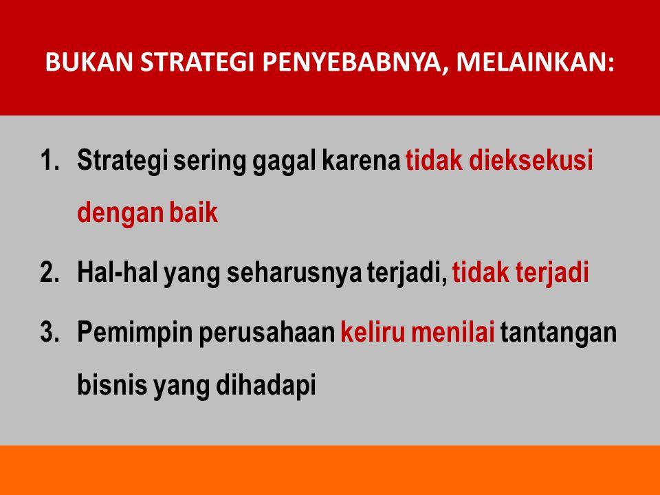 BUKAN STRATEGI PENYEBABNYA, MELAINKAN: 1.Strategi sering gagal karena tidak dieksekusi dengan baik 2.Hal-hal yang seharusnya terjadi, tidak terjadi 3.