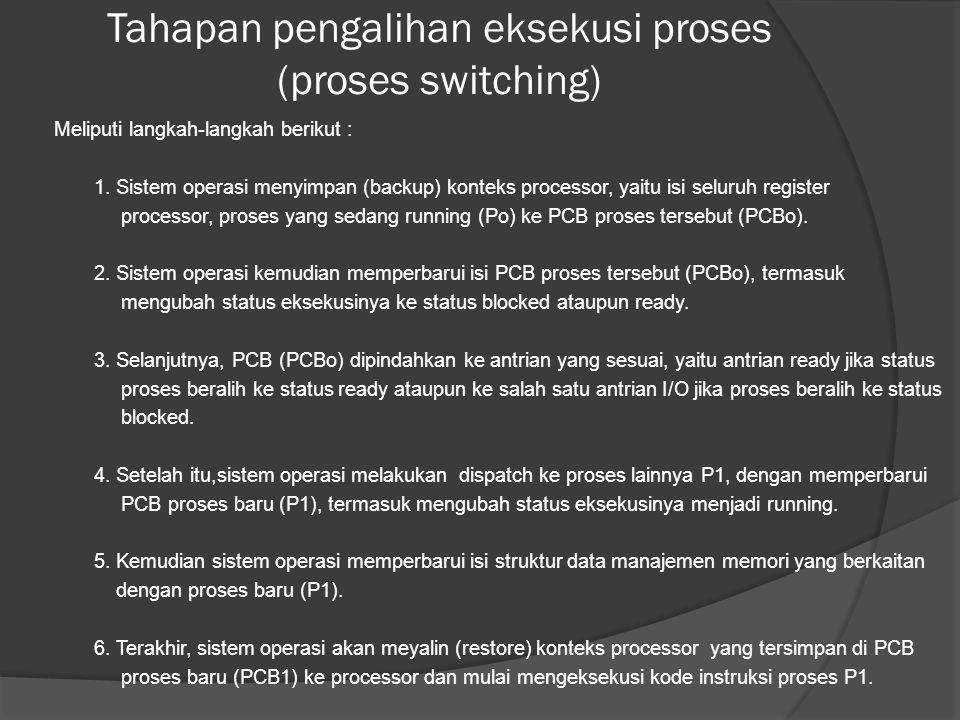 Tahapan pengalihan eksekusi proses (proses switching) Meliputi langkah-langkah berikut : 1.