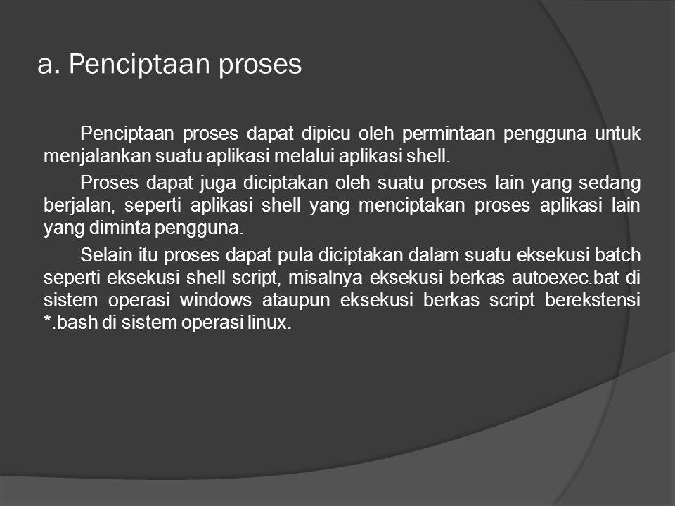 a. Penciptaan proses Penciptaan proses dapat dipicu oleh permintaan pengguna untuk menjalankan suatu aplikasi melalui aplikasi shell. Proses dapat jug