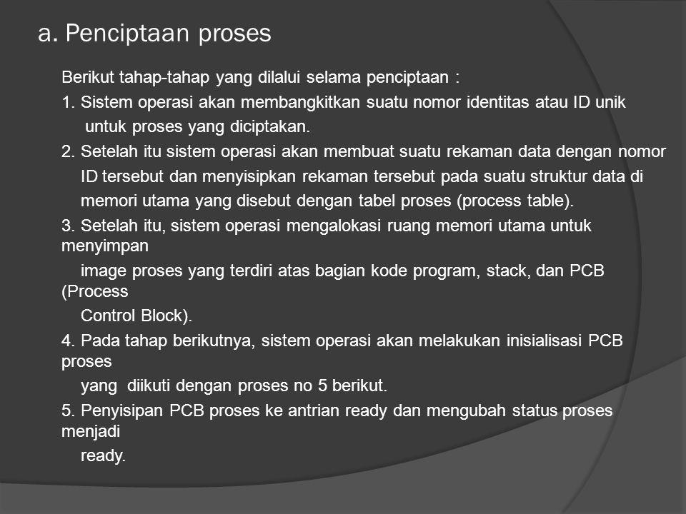 b.Penghentian proses Penghentian proses yang normal terjadi karena aplikasi telah selesai.