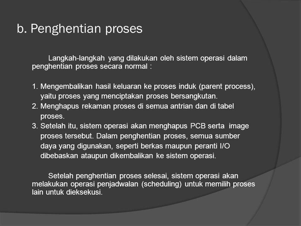 b. Penghentian proses Langkah-langkah yang dilakukan oleh sistem operasi dalam penghentian proses secara normal : 1. Mengembalikan hasil keluaran ke p