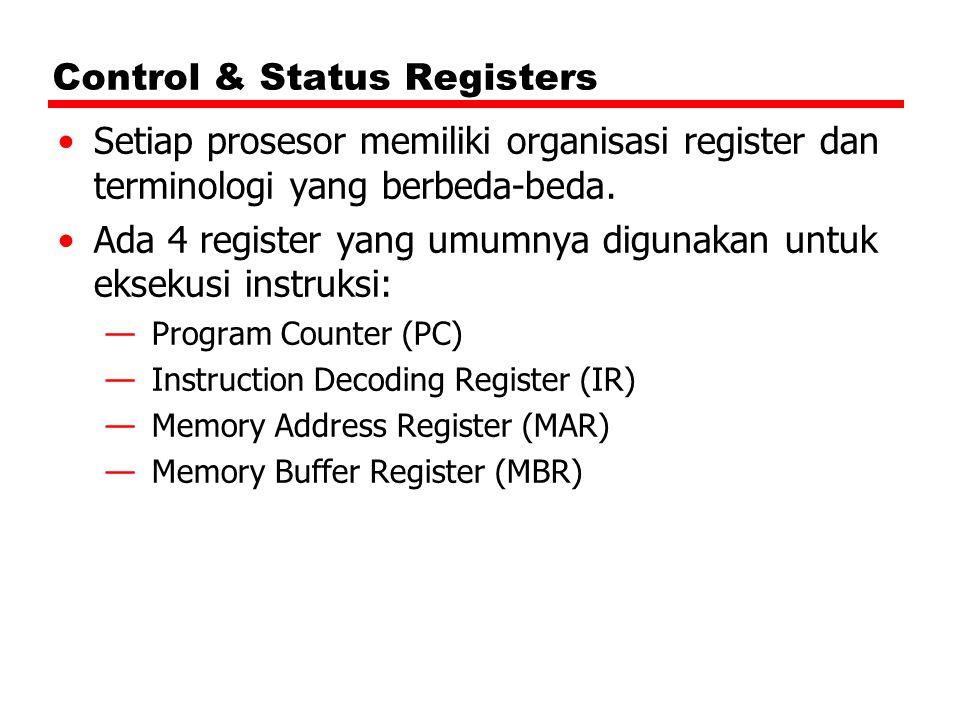 Control & Status Registers Setiap prosesor memiliki organisasi register dan terminologi yang berbeda-beda. Ada 4 register yang umumnya digunakan untuk