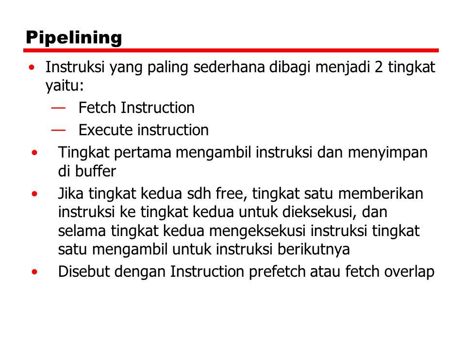 Pipelining Instruksi yang paling sederhana dibagi menjadi 2 tingkat yaitu: —Fetch Instruction —Execute instruction Tingkat pertama mengambil instruksi