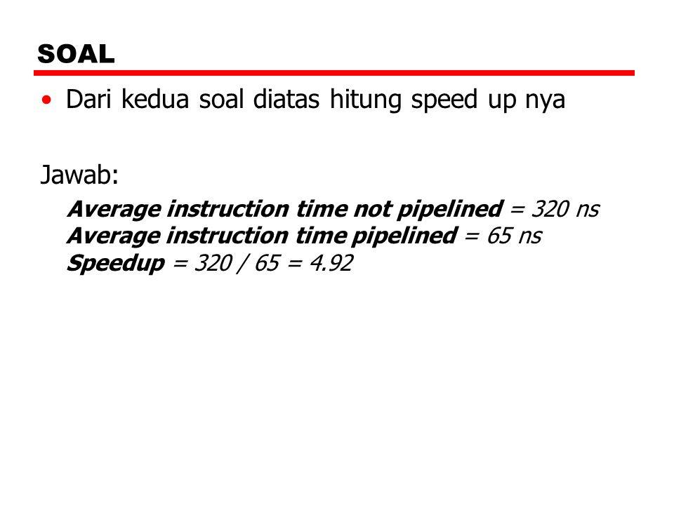 SOAL Dari kedua soal diatas hitung speed up nya Jawab: Average instruction time not pipelined = 320 ns Average instruction time pipelined = 65 ns Spee