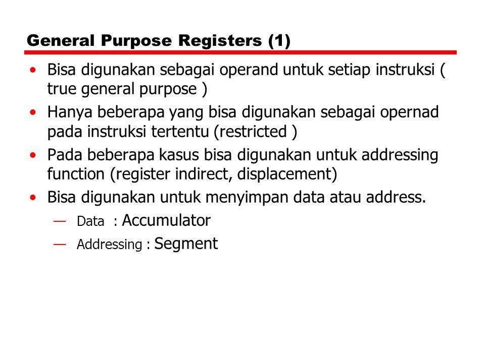 General Purpose Registers (1) Bisa digunakan sebagai operand untuk setiap instruksi ( true general purpose ) Hanya beberapa yang bisa digunakan sebaga