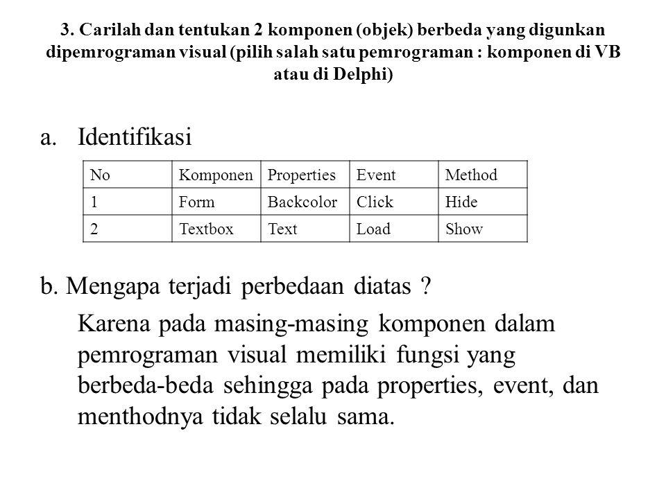 3. Carilah dan tentukan 2 komponen (objek) berbeda yang digunkan dipemrograman visual (pilih salah satu pemrograman : komponen di VB atau di Delphi) a
