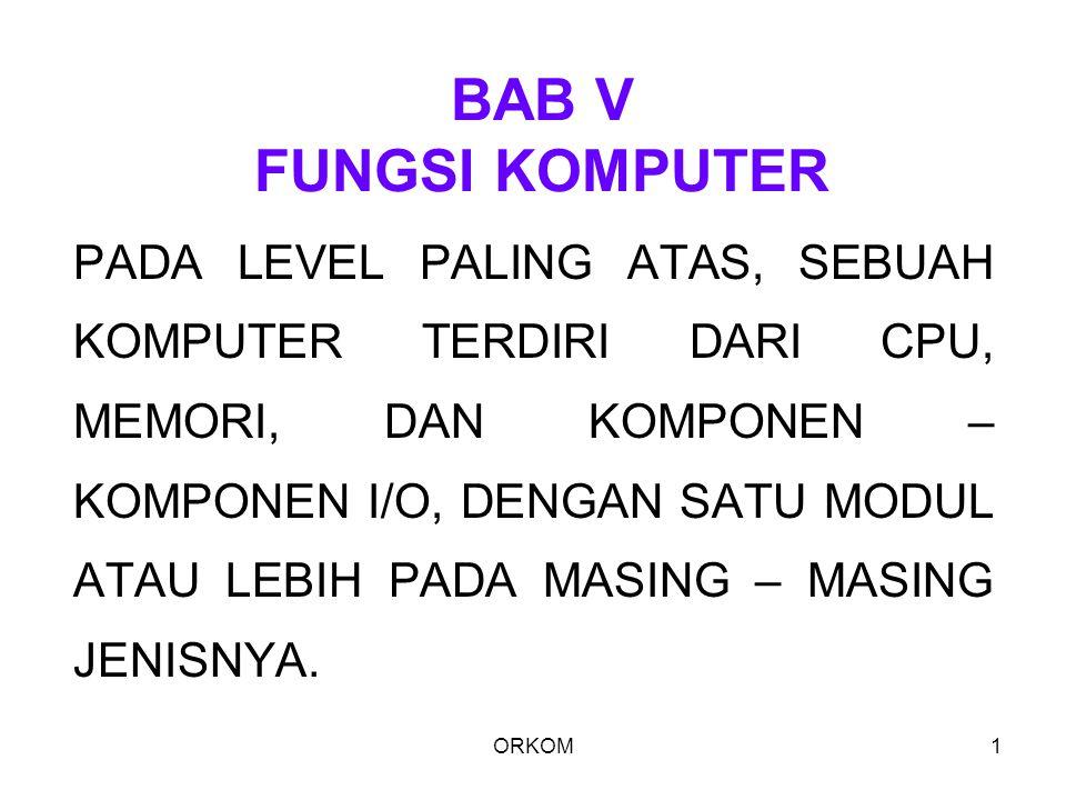 ORKOM1 BAB V FUNGSI KOMPUTER PADA LEVEL PALING ATAS, SEBUAH KOMPUTER TERDIRI DARI CPU, MEMORI, DAN KOMPONEN – KOMPONEN I/O, DENGAN SATU MODUL ATAU LEB