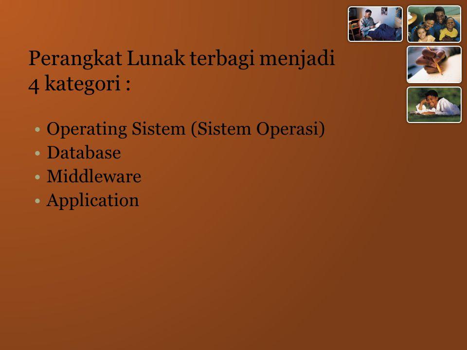 Perangkat Lunak terbagi menjadi 4 kategori : Operating Sistem (Sistem Operasi) Database Middleware Application