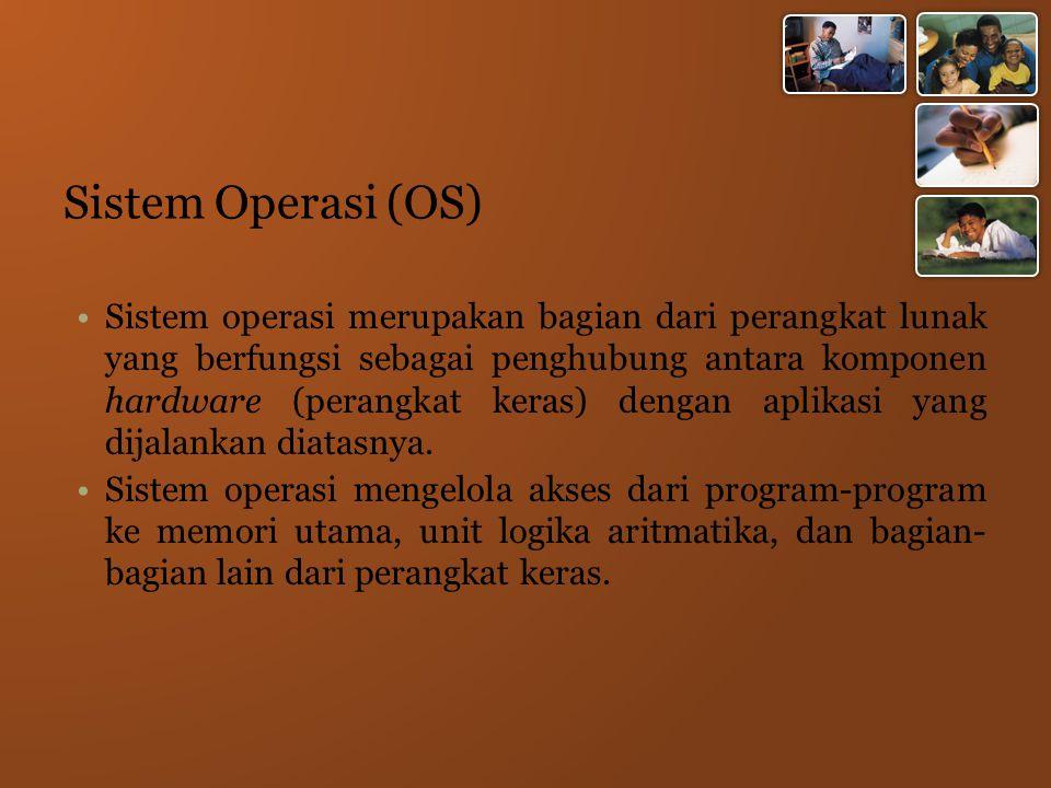 Sistem Operasi (OS) Sistem operasi merupakan bagian dari perangkat lunak yang berfungsi sebagai penghubung antara komponen hardware (perangkat keras) dengan aplikasi yang dijalankan diatasnya.