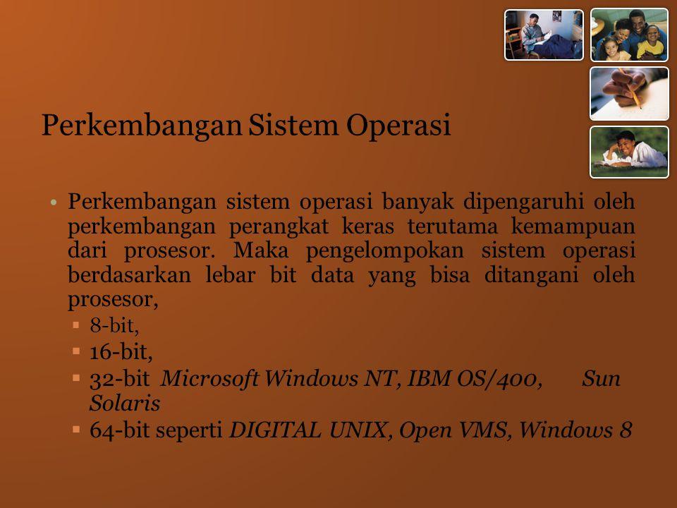 Perkembangan Sistem Operasi Perkembangan sistem operasi banyak dipengaruhi oleh perkembangan perangkat keras terutama kemampuan dari prosesor.