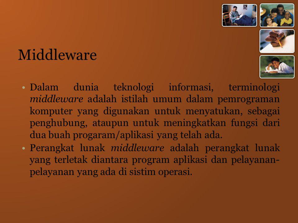 Middleware Dalam dunia teknologi informasi, terminologi middleware adalah istilah umum dalam pemrograman komputer yang digunakan untuk menyatukan, sebagai penghubung, ataupun untuk meningkatkan fungsi dari dua buah progaram/aplikasi yang telah ada.