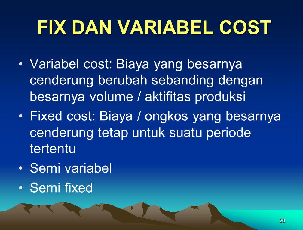 26 FIX DAN VARIABEL COST FIX DAN VARIABEL COST Variabel cost: Biaya yang besarnya cenderung berubah sebanding dengan besarnya volume / aktifitas produksi Fixed cost: Biaya / ongkos yang besarnya cenderung tetap untuk suatu periode tertentu Semi variabel Semi fixed