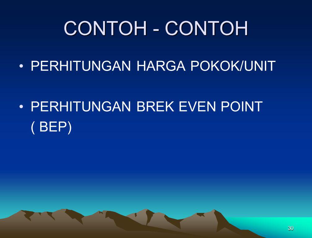 30 CONTOH - CONTOH PERHITUNGAN HARGA POKOK/UNIT PERHITUNGAN BREK EVEN POINT ( BEP)