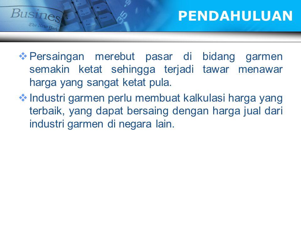 www.themegallery.com Company Logo  Persaingan merebut pasar di bidang garmen semakin ketat sehingga terjadi tawar menawar harga yang sangat ketat pula.