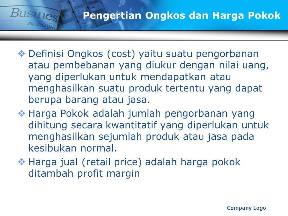 www.themegallery.com Company Logo Pengertian Ongkos dan Harga Pokok  Definisi Ongkos (cost) yaitu suatu pengorbanan atau pembebanan yang diukur dengan nilai uang, yang diperlukan untuk mendapatkan atau menghasilkan suatu produk tertentu yang dapat berupa barang atau jasa.
