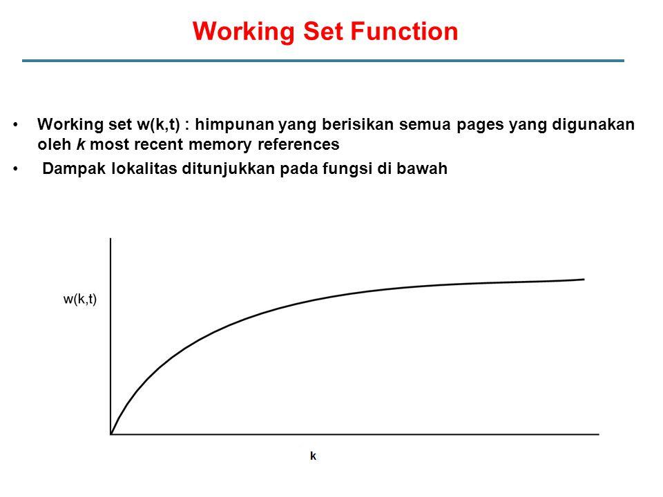 Working Set Function Working set w(k,t) : himpunan yang berisikan semua pages yang digunakan oleh k most recent memory references Dampak lokalitas dit