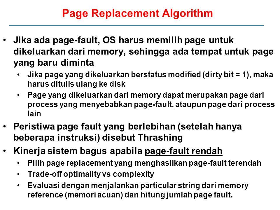 Jika ada page-fault, OS harus memilih page untuk dikeluarkan dari memory, sehingga ada tempat untuk page yang baru diminta Jika page yang dikeluarkan