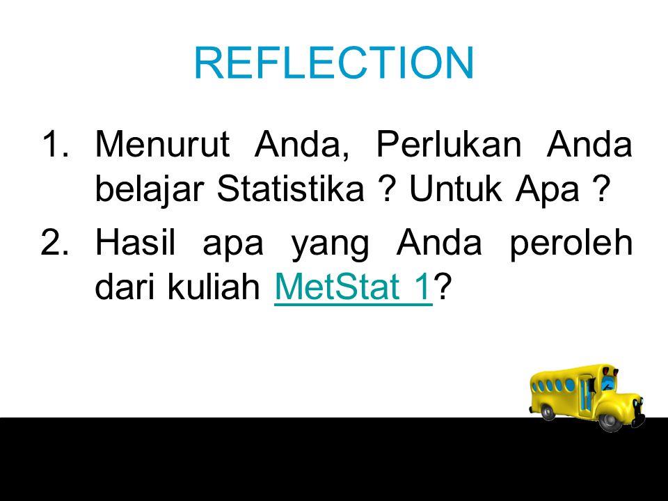 REFLECTION 1.Menurut Anda, Perlukan Anda belajar Statistika .