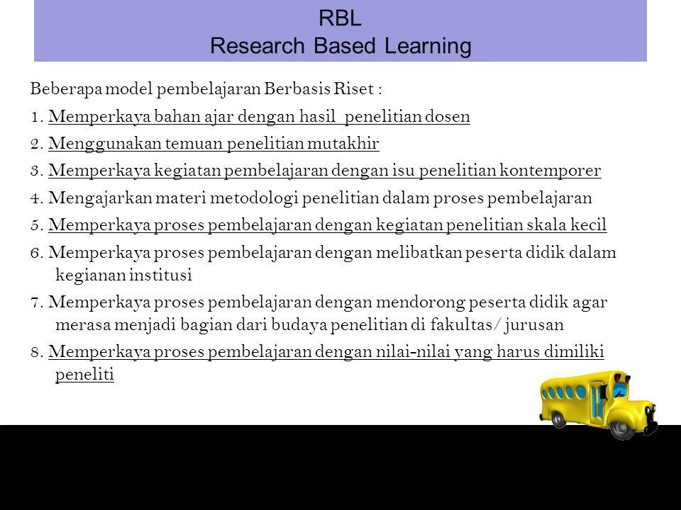 Beberapa model pembelajaran Berbasis Riset : 1.